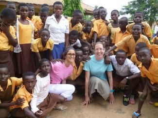 Elin and Yalda with students in Ghana