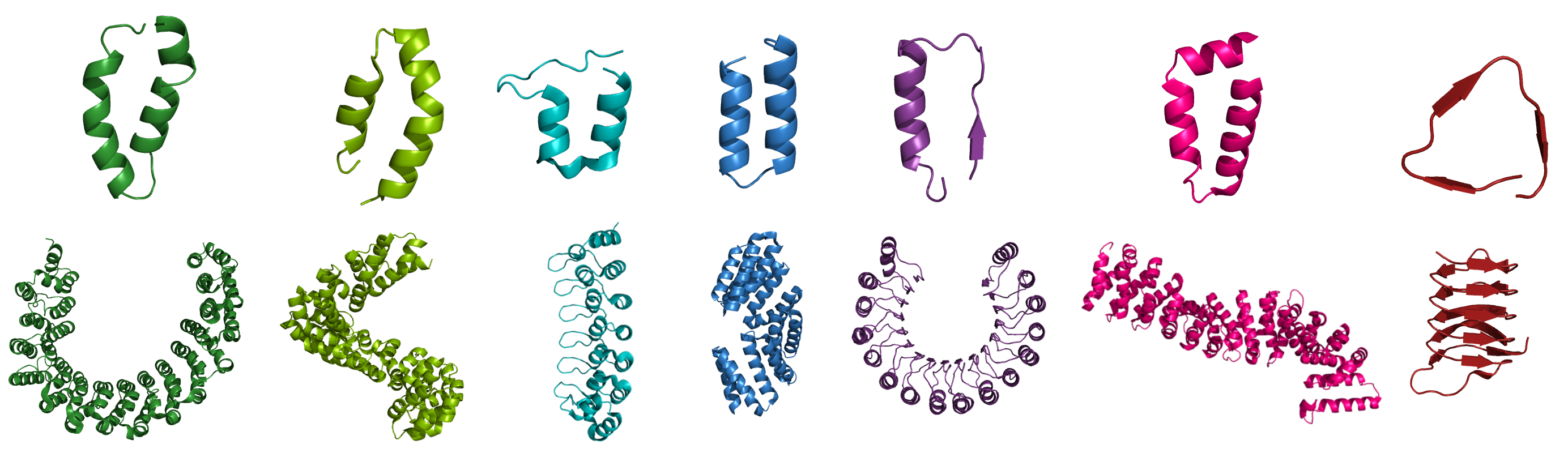 Different types of repeats (from left to right): HEAT, TALE, Ankyrin, TPR, Armadillo, β-helix